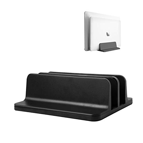 Vertical Laptop Stand,Double Desktop Stand Holder with Adjustable Dock (Up to 17.3 inch), Fits All MacBook/Surface/Samsung/HP/Dell/Chrome Book (Black)