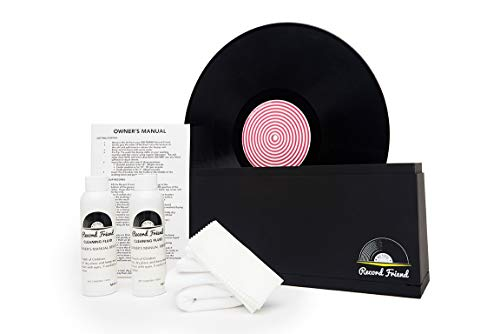 Record Friend! Vinyl Record Cleaner, Cleaning Accessories and Drying Rack Kit - Spin Up To 500 Records Clean! Album Washer Machine incl. Record Cleaning Solution Fluid, 2x Brush, Cloths, Rack and More