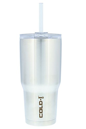 Reduce Tumbler, 34oz – Reduce Cold-1 Tumbler With Lid and Straw – 24 Hours Cold – Stainless Steel, Sweat-Proof Body – Cupholder Friendly, Perfect for Water and Coffee – Stainless Steel