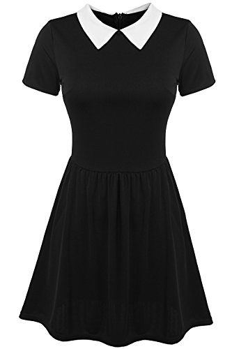 POGT Women's Halloween Costumes Dress Wednesday Addams Costume (XXL, Black)