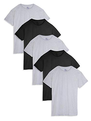 Fruit of the Loom Men's Crew Neck T-Shirt Multipack, Black/Grey (5 Pack), Large