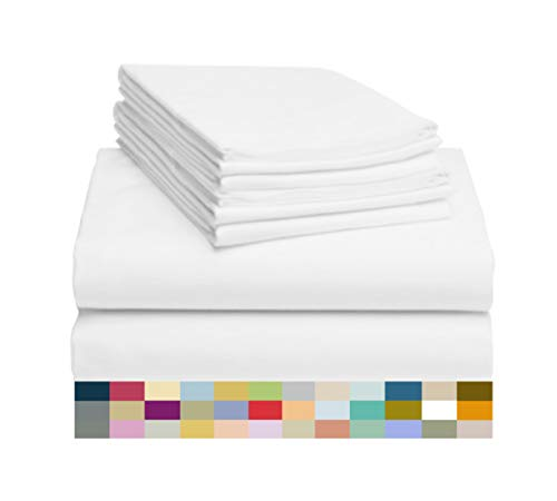 LuxClub 6 PC Sheet Set Bamboo Sheets Deep Pockets 18' Eco Friendly Wrinkle Free Sheets Hypoallergenic Anti-Bacteria Machine Washable Hotel Bedding Silky Soft - White King