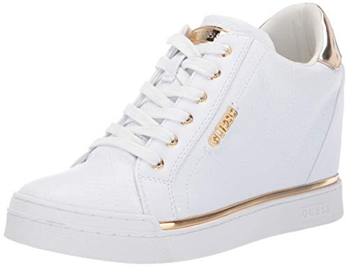 GUESS Women's Flowurs Sneaker, White, 8.5