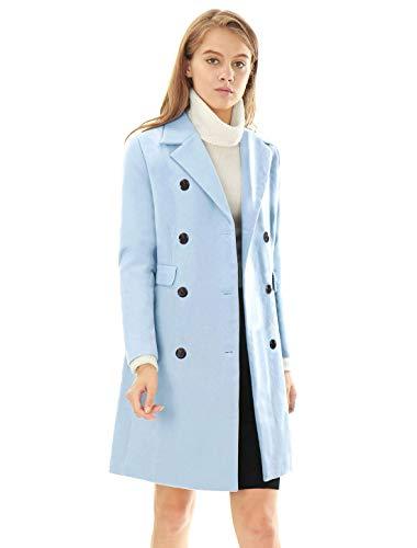 Allegra K Women's Long Jacket Notched Lapel Double Breasted Trench Coat M Blues