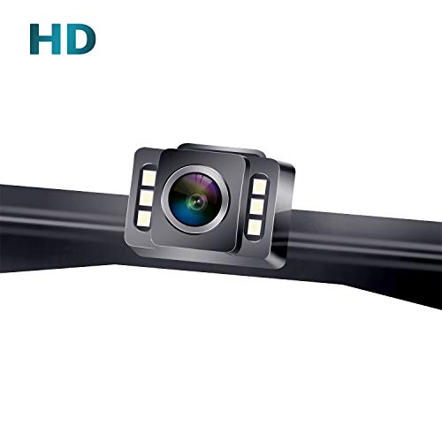 LeeKooLuu F11 HD 720P Car Backup Camera Hitch Rear View License Plate Camera with 6 Auto LED Lights Color Front View Camera IP69K Waterproof Super Night Vision Guide Lines ON/Off