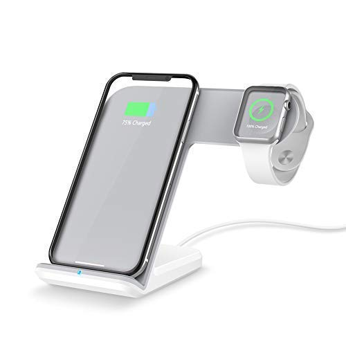 FACEVER 2 in 1 Wireless Charger Stand Dock Fast Qi Phone iWatch Charging Station Compatible for Apple Watch Series 1 2 3 4 5 iPhone 11 Pro Max X XS XR 8 8 Plus Samsung S9 S10, White