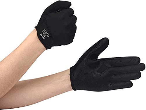 "Hornet Watersports Full Finger Black Rowing Gloves with Non-Slip Grip Ideal for Paddling, Sailing, Fishing, Kayaking, Boating and More (S (Fits 6.5""-7""))"