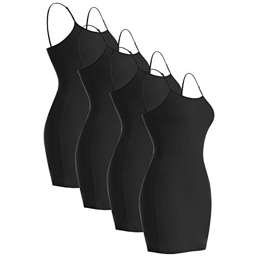 VIV Collection 4-PK Spaghetti Strap Cami Cotton Tank Top (X-Large, Black/Black/Black/Black)