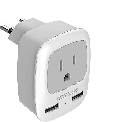 Switzerland Power Adapter Travel Plug, TESSAN Swiss Outlet Adaptor with 2 USB Ports + USA Input for US to Switzerland, Liechtenstein, Rwanda (Type J)