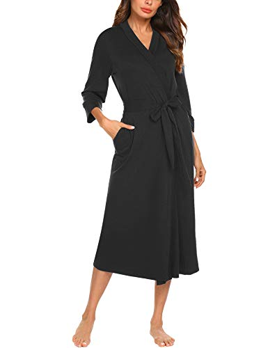 MAXMODA Women Robe Kimono Knit Cotton Light Half Sleeve Long Spa Bathrobe (Black, XL)