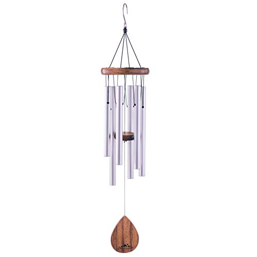 """UpBlend Outdoors Wind Chime - The Classic Silver Havasu is 28"""" Total Length - Hand-Tuned and Beautiful as a Gift or for Your Patio, Garden, and Outdoor Home décor"""