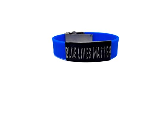Blue Lives Matter Laser Engraved Adjustable Bracelet with Police Suicide Awareness Wristband (8', Free Wristband Size).!