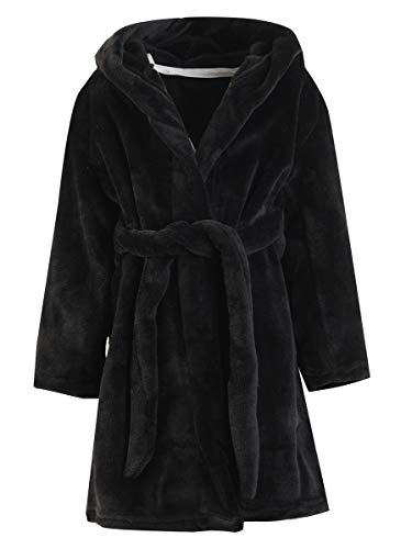 Girls' Fleece Robe, Warm Plush Flannel Bathrobe Hooded Sleepwear Bath Robe for Toddler & Little Girls, Black, 9-10 Years = Tag 150