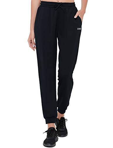 DEMOZU Women's Jogger Pants Active Sweatpants Workout Lounge French Terry Drawstring Tapered Track Pants with Pockets, Black, L