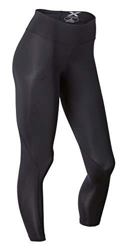 2XU Women's Mid-Rise 7/8 Compression Tights, Black/Dotted Black Logo, Small