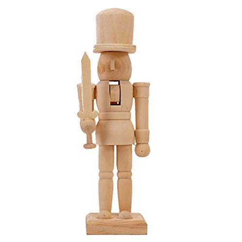 BESPORTBLE Wooden Nutcracker Desktop Decoration Ornament Classic Collectible Nutcracker Unfinished Wood Doll to Paint for DIY Craft Painting