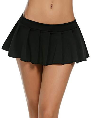 Avidlove Sexy Role Play Pleated Solid Mini Skirt Lingerie Sleepwear Black,XX-Large