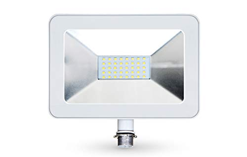 LLT 30W LED Flood Light with Knuckle Mount Super Slim - 2400lm 5000K Daylight SMD - LED Outdoor Light Landscape Security Waterproof - White Aluminum and Tempered Glass
