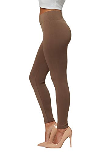 Conceited Fleece Lined Leggings for Women in 20 Colors - Reg & Plus Size - Warm Winter Sweatpants Thermal Yoga Mocha - Large - X-Large