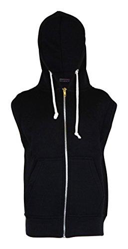 Mens Sleeveless Sweatshirt Hoodies Top (L, Black)