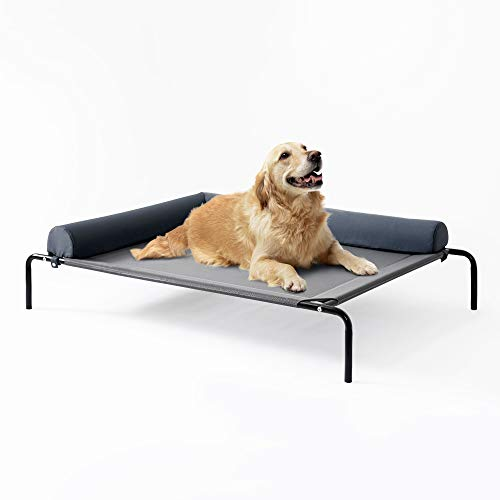 Love's cabin Bolster Elevated Dog Bed, 49in Pet Dog Beds for Extra Large Medium Small Dogs - Portable Dog Cot for Camping or Beach, Durable Fall Frame Raised Dog Bed with Breathable & Removable Mesh