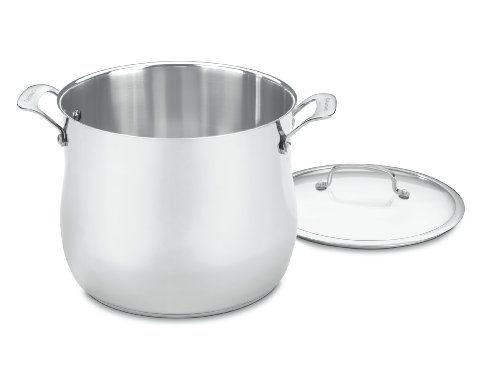 Cuisinart Contour Stainless 12-Quart Stockpot with Glass Cover