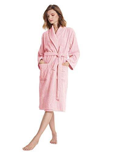 SIORO Cotton Terry Robes for Women Terrycloth Towel Lightweight Bathrobe Soft Hotel Hospital Spa Sleepwear Shawel Collar Winter Nightwear,Light Pink Small