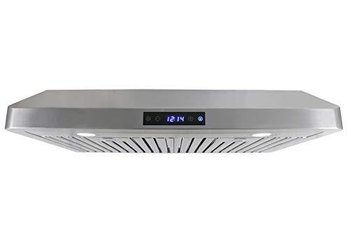 Leyso Under Cabinet Stainless Steel Range Hood, Digital 3-Speed Control, 800 CFM, 2 LED Lights, Baffle Filters (36')