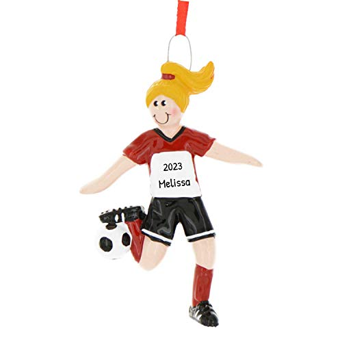 Personalized Soccer Girl Christmas Tree Ornament 2020 - Yellow Hair Team Athlete Red Uniform Dribbling Foot-Ball Score Profession Hobby High School FIFA Gift Year Grand-Kid - Free Customization