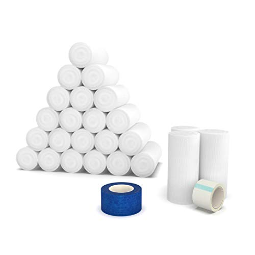 Elastic Stretch Gauze Rolls (24-Pack) 4in x 8 Yards [ 2X Longer ] + Free Bonus Items: Include Medical Tape Roll and Cohesive Tape Roll
