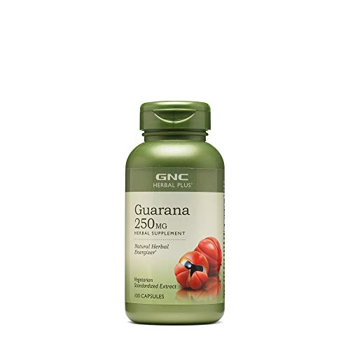 GNC Herbal Plus Guarana 250mg, 100 Capsules, Natural Herbal Energizer