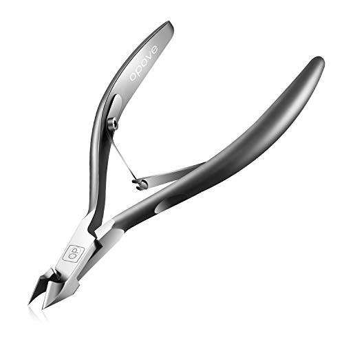 Cuticle Trimmer 3/4 Jaw Extremely Sharp Cuticle Nippers Scissors Stainless Steel Clippers Cutter Remover Pedicure Manicure Nail Tool, opove X7, Space Gray