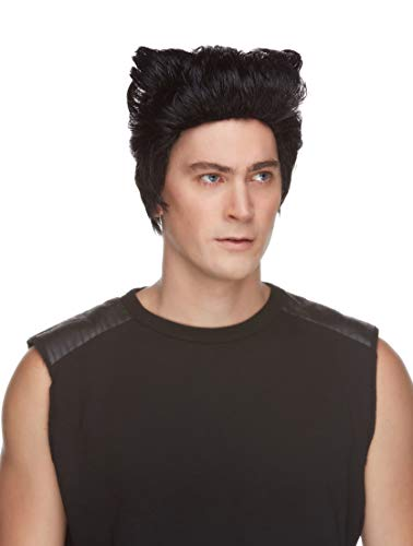Wolverine Color Black - Sepia Wigs Logan Xmen Cosplay Fancy Dress Wolferine Synthetic Wolfrine Jackman Bundle Costume Wig Booklet