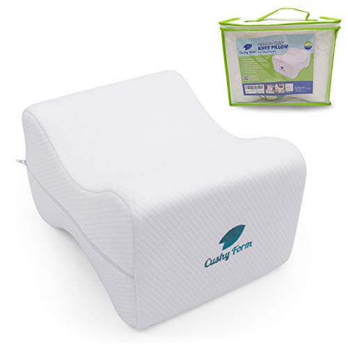 Knee Pillow for Side Sleepers - Sciatic Nerve Pain Relief | Best for Pregnancy, Hip, Knee, Back and Spine Alignment | Memory Foam Orthopedic Leg Pillow Wedge with Washable Cover+Free Storage Bag (Lrg)