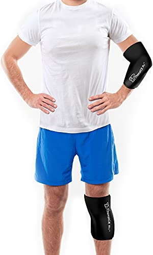 TheraICE Rx Elbow & Knee Ice Pack for Injuries Compression Sleeve, Reusable Gel Cold Pack for Knee, Elbow, Ankle, Calf - Flexible Cold Wrap Recovery for Meniscus, ACL, MCL, Bursitis Pain Relief (M)