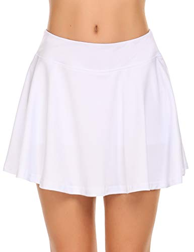 Ekouaer Skort for Women Secure & Comfortable Two Layer Pleated Solid Skirts Running Short