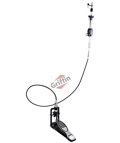 Remote Hi Hat Stand with Foot Pedal by GRIFFIN   Drummers Cable Auxiliary Cymbal High Hat Percussion Hardware with Drum Key   Heavy Duty Sturdy HiHat Holder   All Metal Construction Mount Complete Kit
