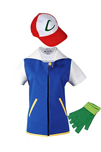 WOTOGOLD Anime Trainer Costume Hoodie Cosplay Jacket Gloves Hat Sets Blue, 8 fit 4-5T