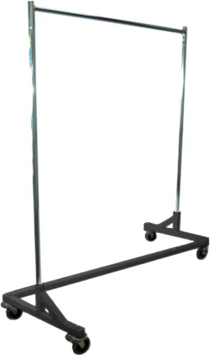 Only Hangers GR600 Heavy Duty 400lb Capacity Z Rack, 63' Length with Adjustable Height Chrome Uprights and Black Base with Commercial Grade Casters, One Rack