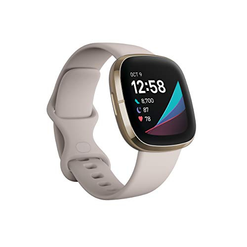 Fitbit Sense Advanced Smartwatch with Tools for Heart Health, Stress Management & Skin Temperature Trends, White/Gold, One Size (S & L Bands Included)