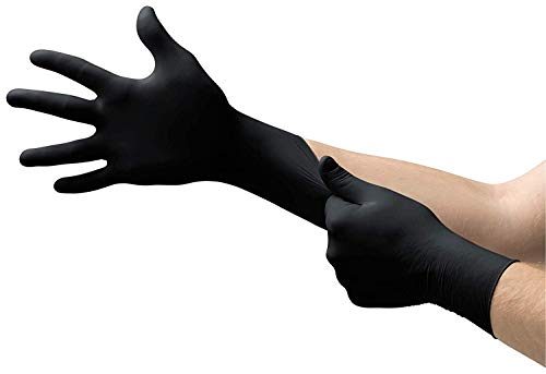 Microflex MK-296 Black Disposable Nitrile Gloves, Latex-Free, Powder-Free Glove for Mechanics, Automotive, Cleaning or Tattoo Applications, Medical/Exam Grade, Size Large, Case of 1000 Units