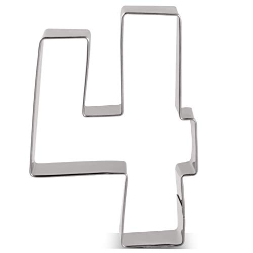 LILIAO Number 4 Cookie Fondant Biscuit Cutter for Birthday/Anniversary/Special Day - 2.6 x 3.6 inches - Stainless Steel