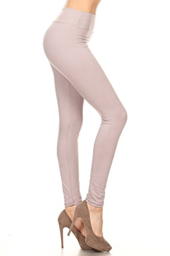 Leggings Mania Women's Solid Colored Leggings with Wide Yoga Waistband Lilac