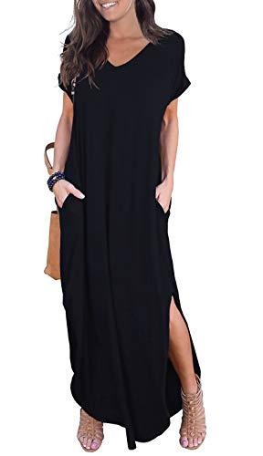 GRECERELLE Women's Casual Loose Pocket Long Dress Short Sleeve Split Maxi Dress Black Small