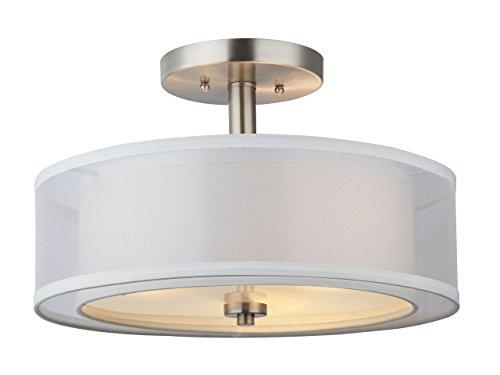 Hardware House LLC 20-7812# 3-Light Round Semi Flush Light Satin Nickel (Renewed)