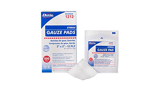 Dukal Woven Gauze Pads 2' x 2'. Pack of 100 12-ply Disposable Cotton sponges for Wound Dressing, Cleaning, prepping, or Packing. Sterile, 100% Cotton.