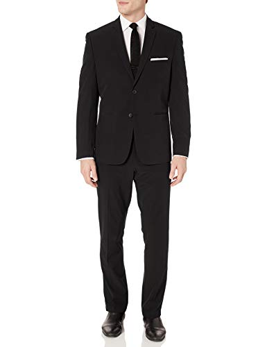 Perry Ellis Men's Slim Fit Machine Washable TECH Suit, Black Solid, 46 Regular