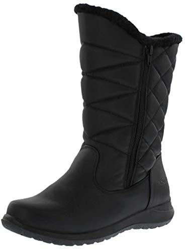 KHOMBU Womens Cold Weather Boots with Dual Zipper Closures (Carly) Waterproof Insulated Mid-Calf Winter Boots for Comfort - Keeps Feet Warm & Dry - Available Both in Medium and Wide