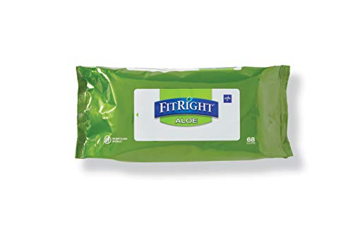 FitRight Aloe Personal Cleansing Cloth Wipes, Scented, 8 x 12 inch Adult Large Incontinence Wipes, 68 count, pack of 12