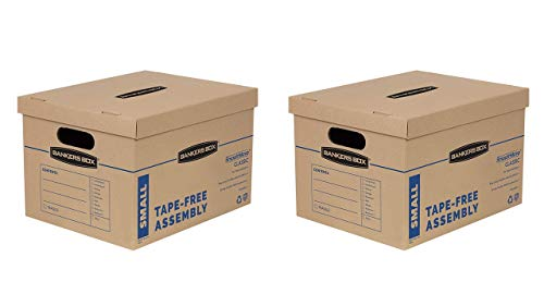 Bankers Box SmoothMove Classic Moving Boxes, Tape-Free Assembly, Easy Carry Handles, Small, 15 x 12 x 10 Inches, (7714901)- 2 Sets of 10pk